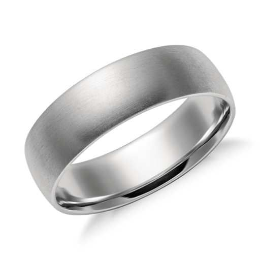 Matte Mid Weight Comfort Fit Wedding Band In Platinum 6mm Mens