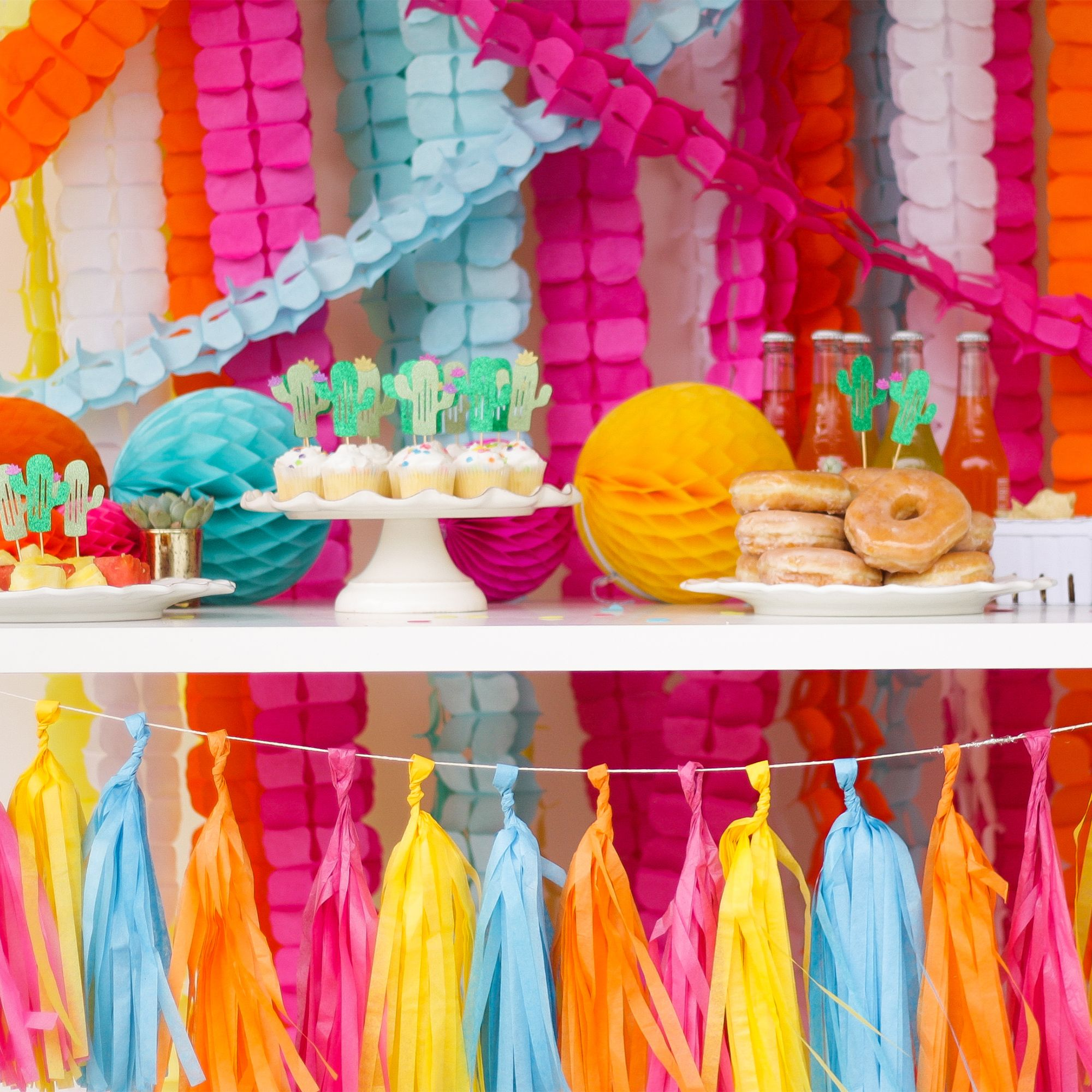 Colorful tassel garlands are an easy way to decorate for
