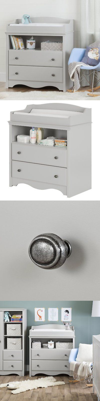 Changing Tables 20424: South Shore Angel Changing Table With Drawers, Soft  Gray  U003e