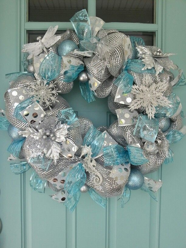 Holiday Wreaths Silver Christmas Decorations Turquoise Christmas Christmas Wreaths