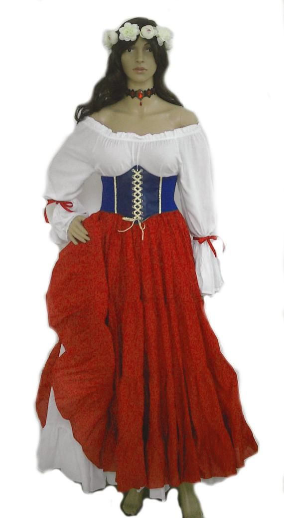 ab327b58816 Renaissance Dress Corset Skirt Chemise Wench Pirate Medieval Steampunk  Costume Celtic Cosplay Fair R