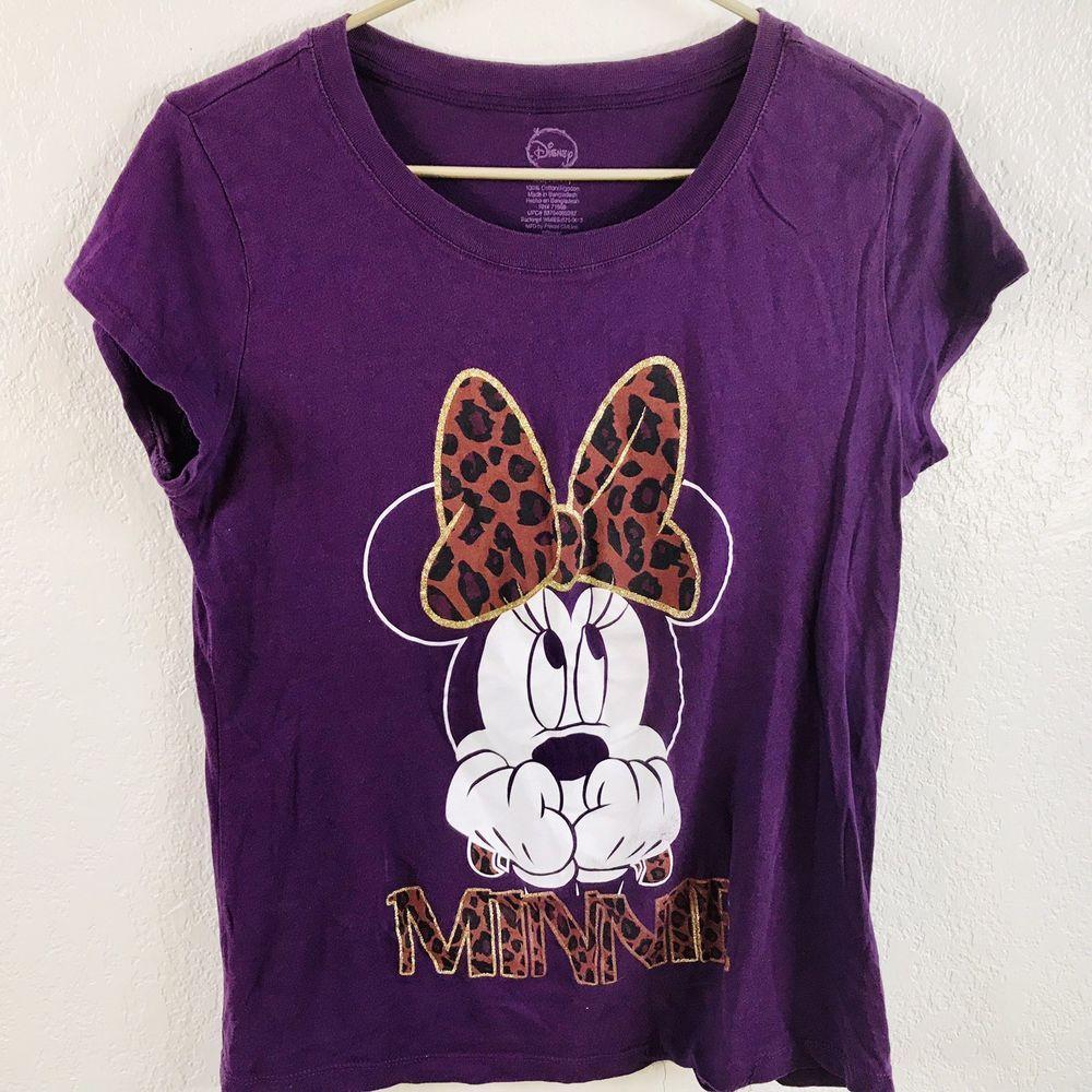 289fc0d3 Disney Minnie Mouse T Shirt Juniors XL 15/17 Purple Tee Cheetah Print Top |  eBay