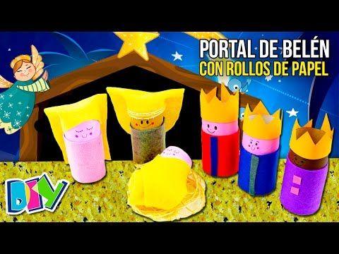 3c15fd145c3 Cómo hacer un PORTAL de BELÉN CASERO con TUBOS DE PAPEL higiénico  MANUALIDADES de RECICLAJE - YouTube