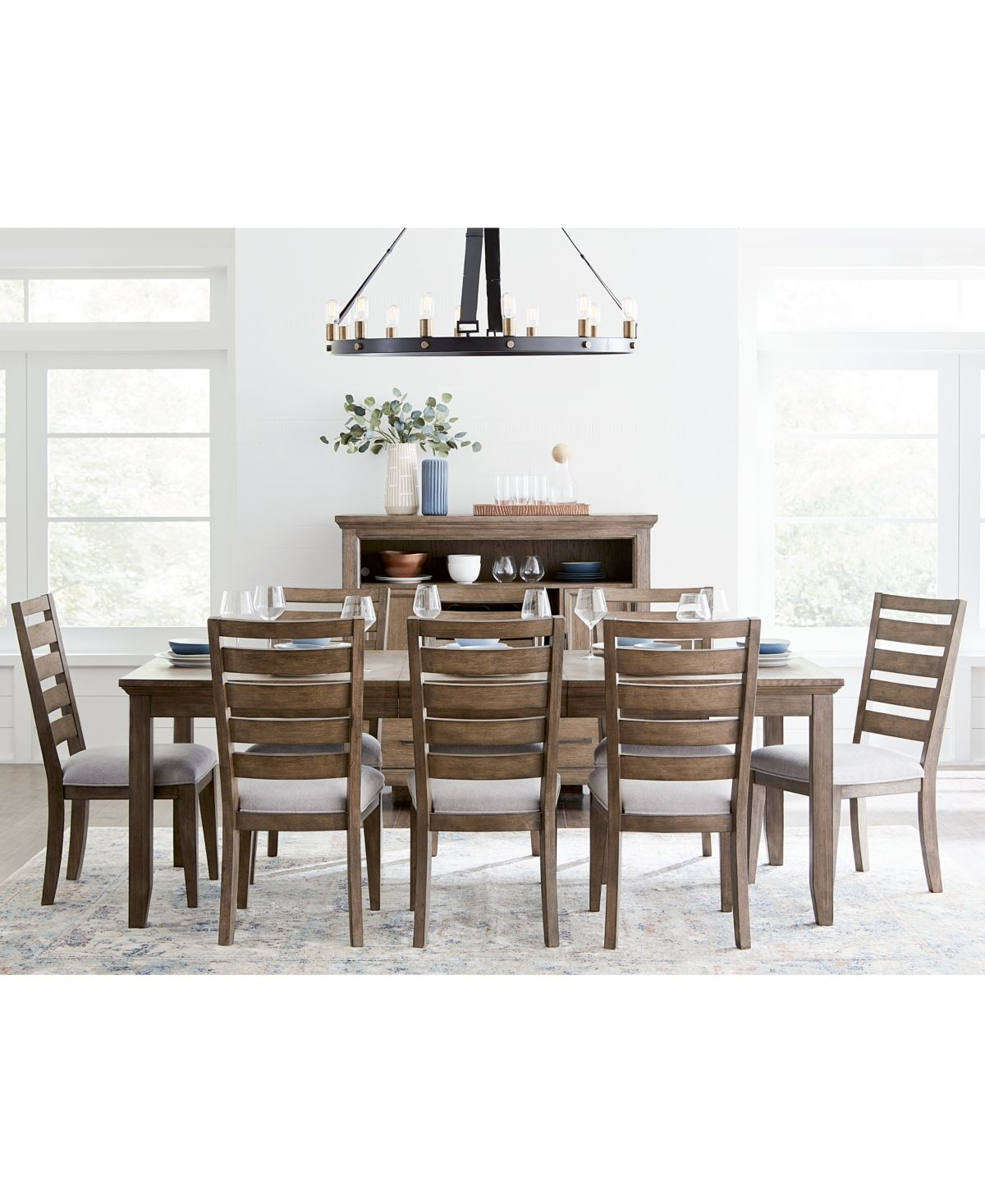 Furniture Mesa Dining Furniture 9 Pc Set Expandable Table 8 Side Chairs Created For Macy S Reviews Furniture Macy S Expandable Dining Table Dining