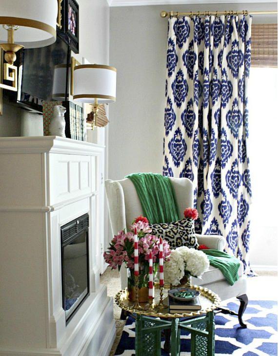 blue ikat curtains drapes panel cotton linen custom length width rh pinterest at