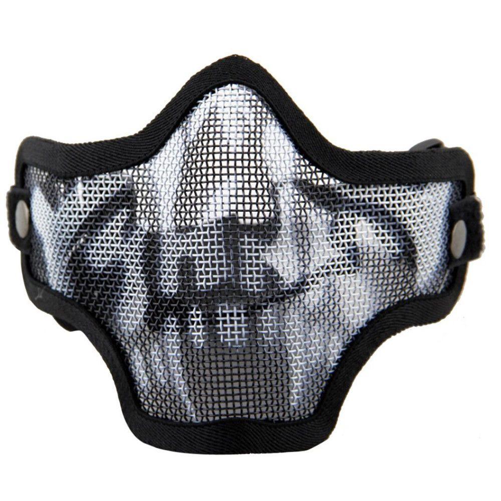 Black Steel Mesh Half Face Skull Mask with X400 UV Goggles