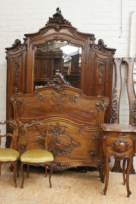 5pc Walnut Louis Xv Bedroom Antiq Houtroos