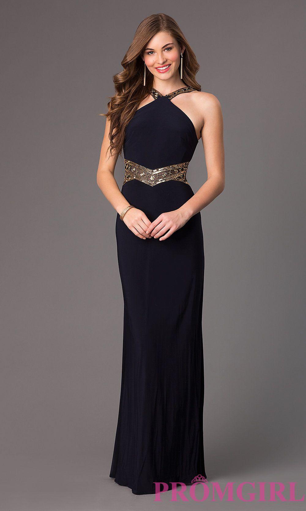 Betsy & Adam Sleeveless Navy Blue Long Prom Dress | Shops, Blue ...