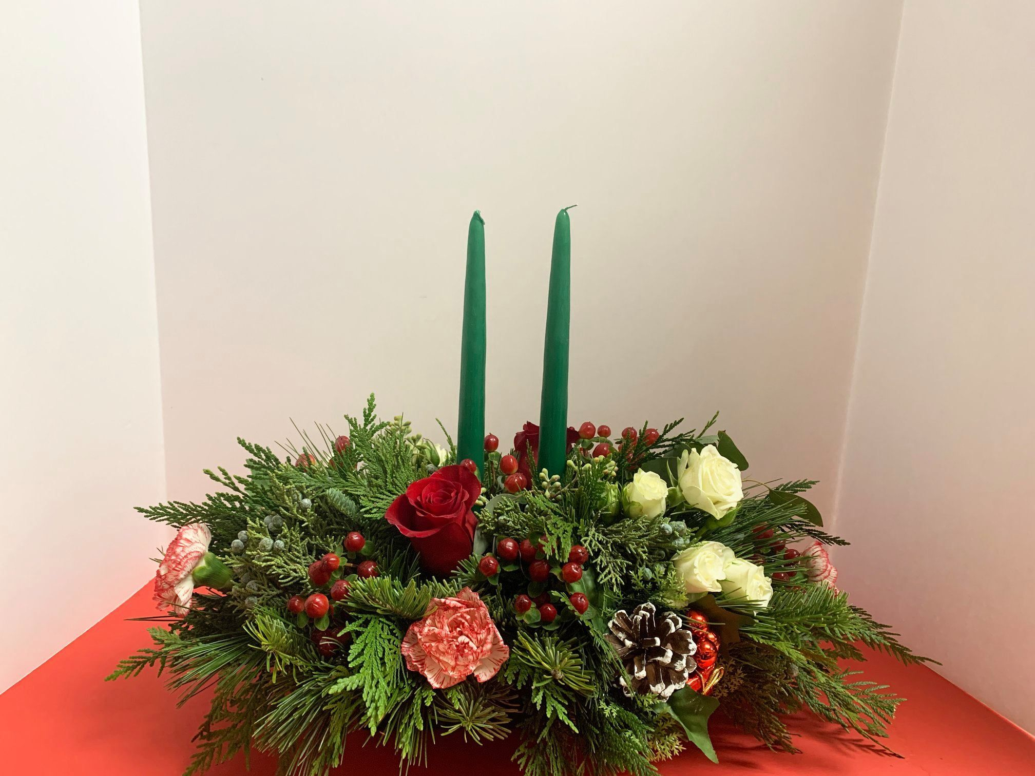 Holiday Centerpiece Perfect Addition To Any Table Florist Flowers Flowershop Cent Christmas Centerpieces Christmas Table Centerpieces Holiday Centerpieces