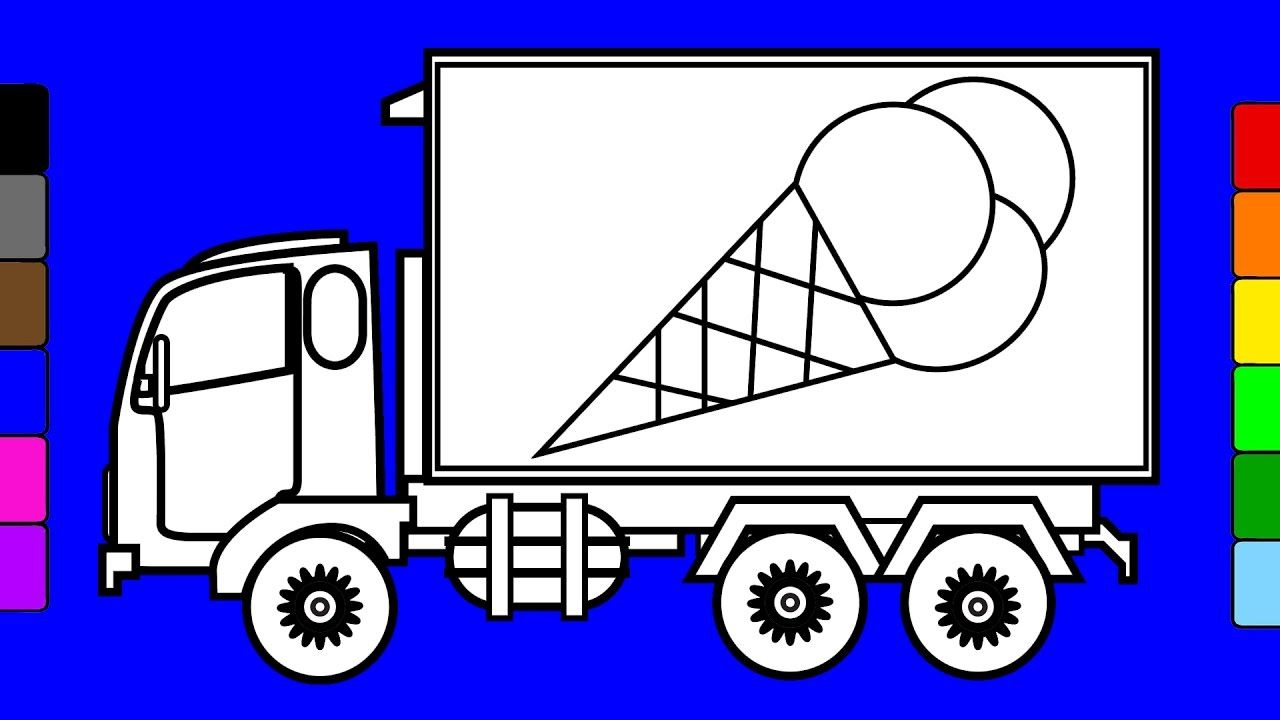 Learn Colors For Kids With Ice Cream Truck | Monster Truck Coloring Page.