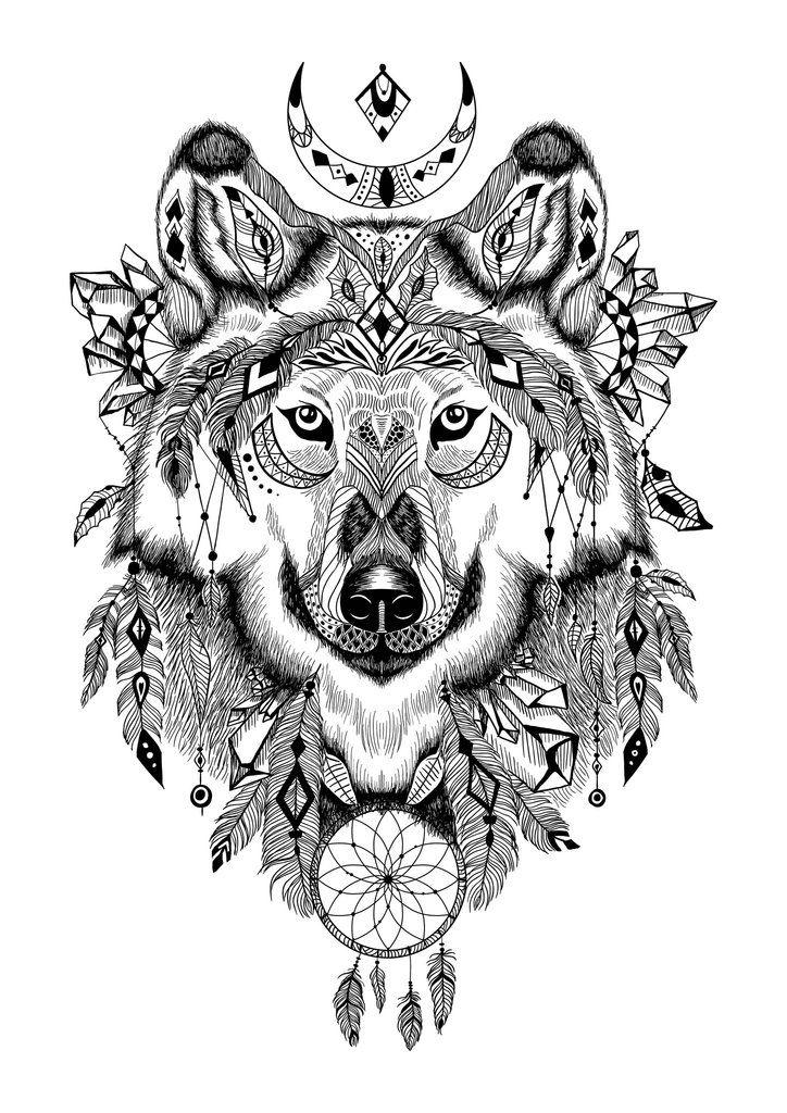 Aztec Wolf Tattoo 插画 画