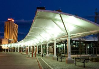 Hotel Entrance Walkway Arch Cantilever Tensile Fabric