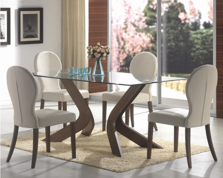 Mulberry 5pc Sculpted Dining Set WALNUT | Glass dining room table ...