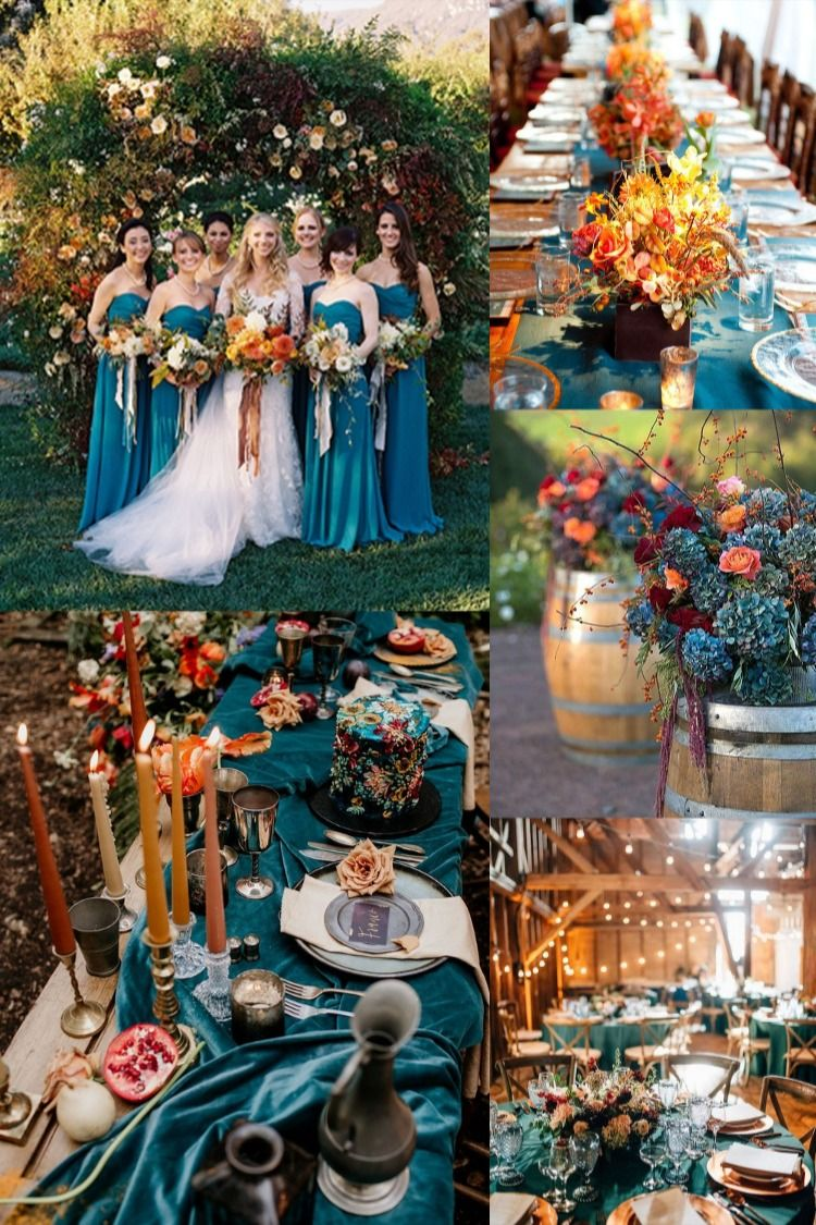 6 Perfect Dark Teal Wedding Color Schemes for Fall