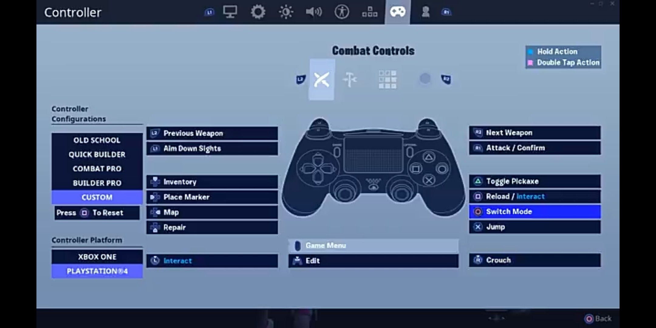 Fortnite Crouch Hold Combat Settings Xbox One Games Combat Fortnite