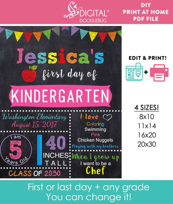 girls back to school sign printable first day of editable any grade diy chalkboard poster instant