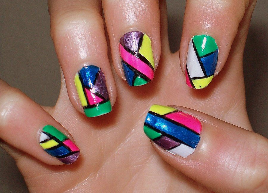 If you aren't brave enough to color block with your clothes, try it on your nails!