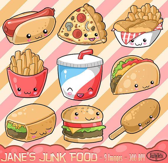 Kawaii Junk Food Clipart Cute Fast Food Download Kawaii Design