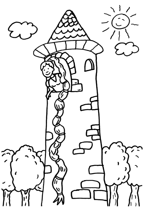 Rapunzel Zum Ausmalen Zum Ausmalen Drawings Kids Castle Coloring Pages Rapunzel Drawing Colorful Drawings