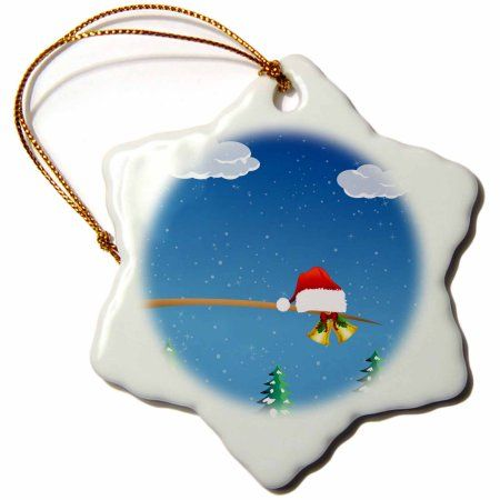 3dRose Cute Christmas Santa Hat With Gold Bells Sitting On A Tree Limb, Snowflake Ornament, Porcelain, 3-inch