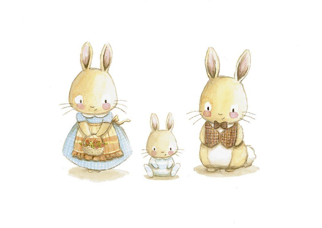 Ilustracion infantil famillia conejos vestidos