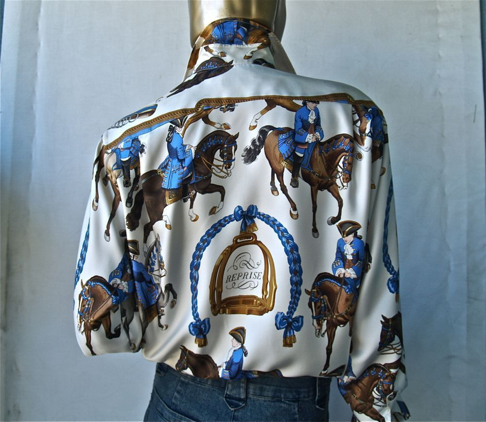 """HERMES SILK SCARF HORSE PRINT BLOUSE """"REPRISE""""   my style ..."""