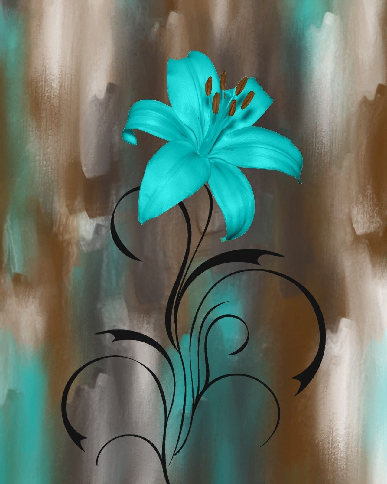 Teal brown wall pictures lily flower modern teal home decor wall art picture status availab