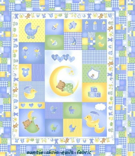 Easy Panel Baby Quilt Kit Sleepy Time Fabric Boys Blue