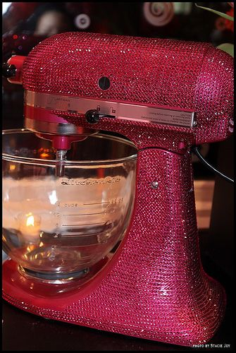 Pink crystal-covered kitchen aide? Yes, please!