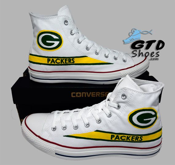 a467e9ff53b5 Hand Painted Converse Hi. Green Bay Packers. Football. Superbowl. White. Handpainted  shoes. Genuine Touch Designs.