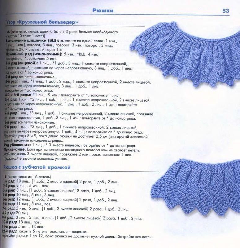 рюши спицами схемы и описание узоры спицами журнал вдохновение