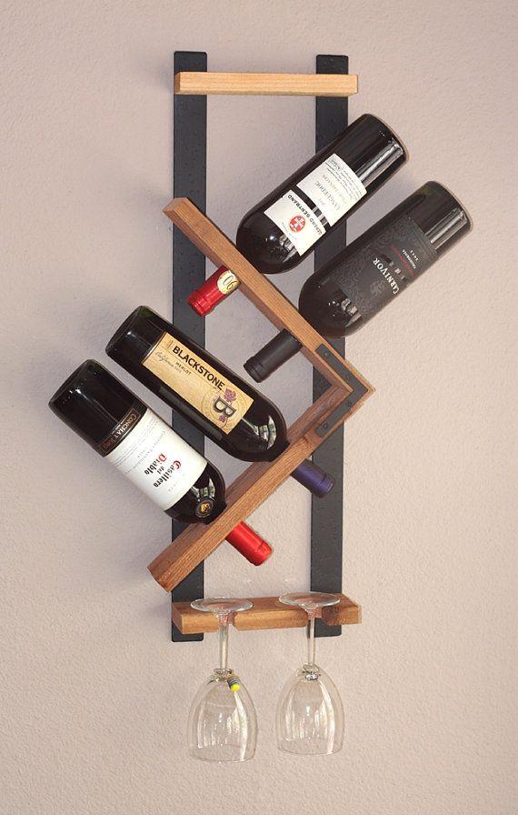 Zig Zag Wine Rack Z Geometric Rustic Wood Wall Mounted Wine Bottle Display Chunky Primitive Rustiek Hout Wijnrek Muur En Wijnflessen