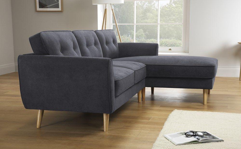 Harlow Slate Grey Plush Fabric L Shape Corner Sofa Rhf Furniture Choice Corner Sofa Furniture Choice Sofa