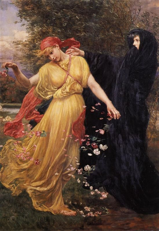Valentine Cameron Prinsep, At the First Touch of Winter, Summer Fades Away, 1897. 黒衣の女性に注目