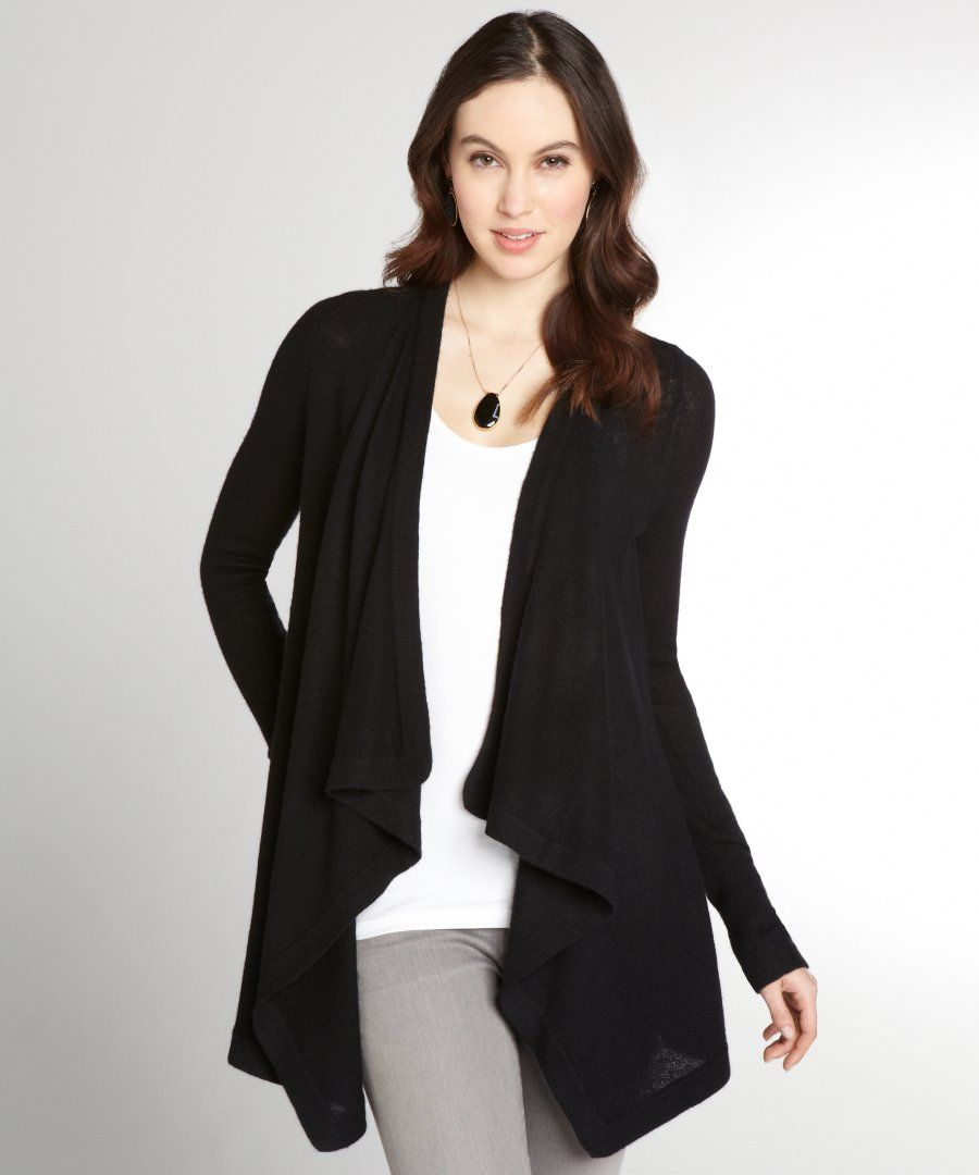Magaschoni women's black cashmere 'Waterfall' cardigan | apparel ...