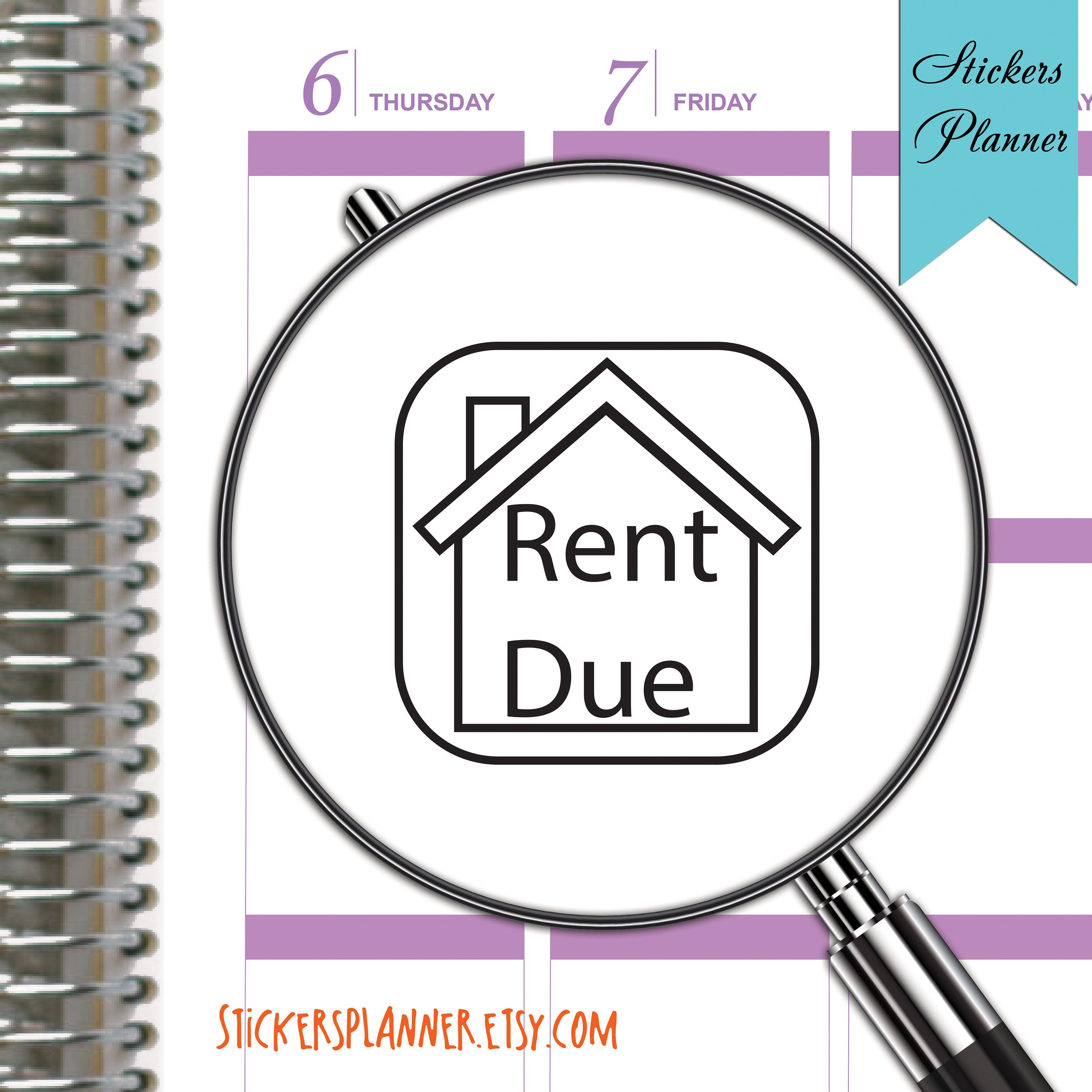Rent Due Stickers Rent Due Planner Stickers Planner for Erin Condren House Planner Notebook on planner envelope, planner bags, planner book, planner calendar, planner bookmark, planner ruler,