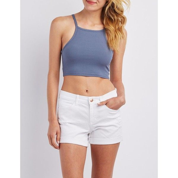 86229981639 Charlotte Russe Ribbed Bib Neck Crop Top ($15) ❤ liked on Polyvore  featuring tops, light blue, spaghetti-strap top, sleeveless tops, cropped  tops, ...