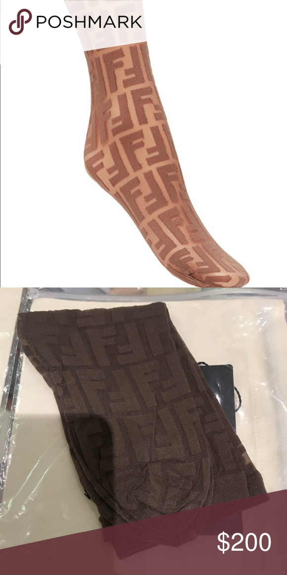 fed3b33b5ea25 Authentic Fendi logo embroidered sock Brown Fendi logo ankle socks- one  size. Low offers will result in being blocked. Have a nice day. Fendi  Accessories