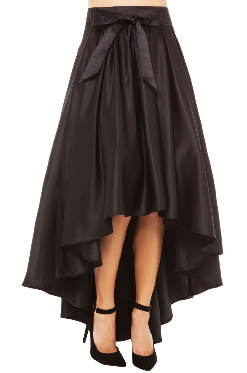 Gracia Hi Low Shine Skirt | Black Skirt | Midi Skirts | new ...