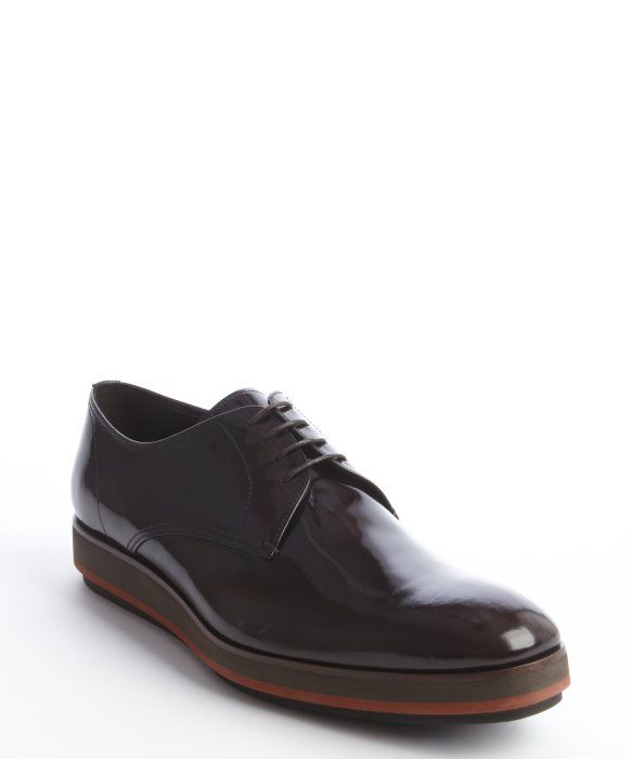 Prada dark brown patent leather lace up oxfords