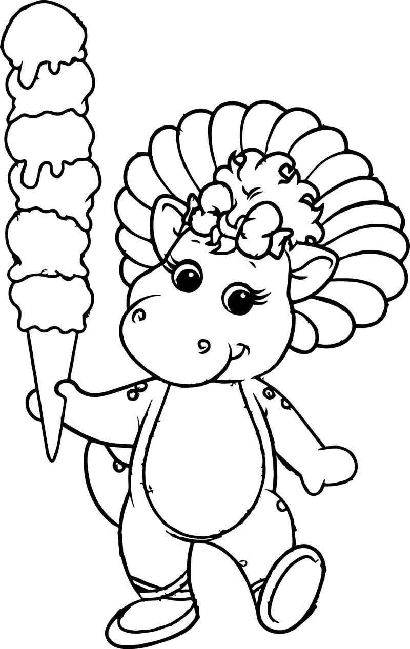 Baby Bop And Her Icy Creamy Coloring Page Coloring Pages Baby Coloring Pages Princess Coloring Pages
