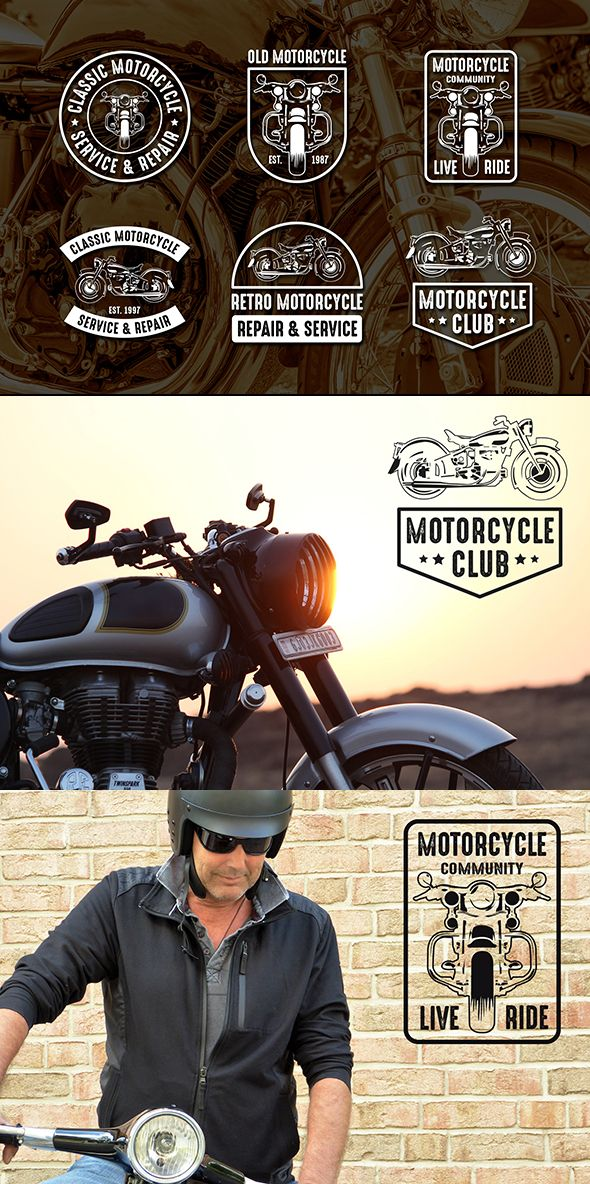 #vintage #logo #badge #classic #motorcycle  Classic motorcycle Logo & Badge is created in adobe illustrator and suitable for your fitness company/club, clothing design and many more. Excellent design, vintage style, good looking and high quality.  Features:  Black and White Versions 100% Vector & Resizable, 100% Text is editable, Only free font used, Color is easily changed Includes:  Editable EPS File Jpeg files Help file (info Font links included in it)