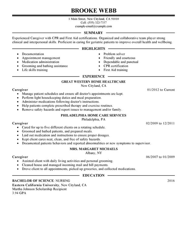 Unforgettable Caregiver Resume Examples To Stand Out Myperfectresume Resume Examples Good Resume Examples Project Manager Resume