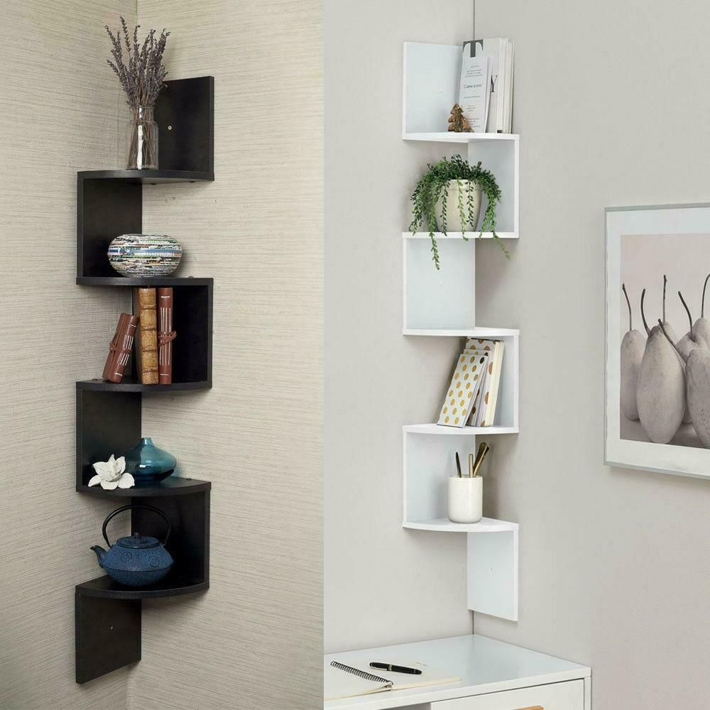 5 Tiers Wall Corner Artistic Shelf Furniture Floating Display Rack