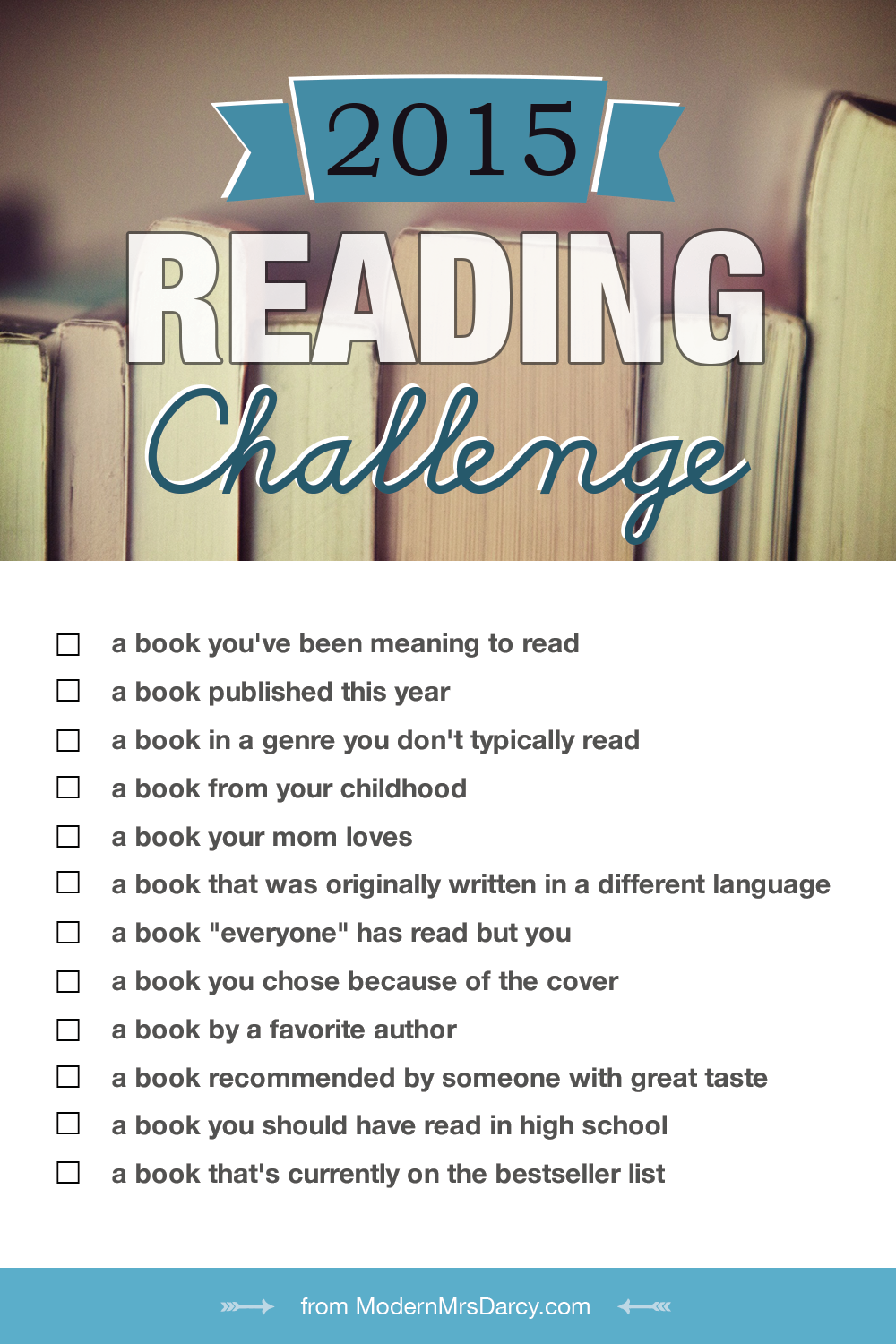 The 2015 Reading Challenge Modern Mrs Darcy Reading Challenge Books Book Challenge