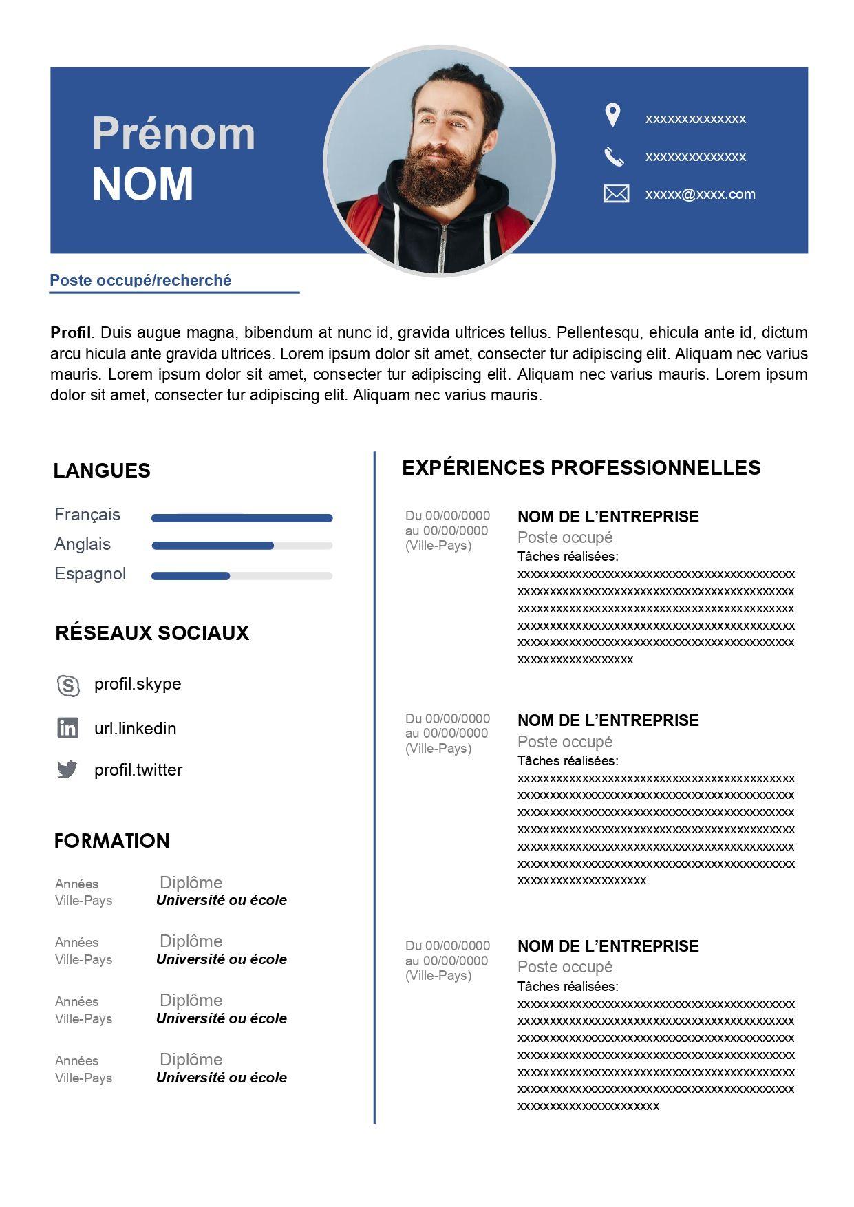 Exemple de CV pour Travailler Télécharger Gratuit en