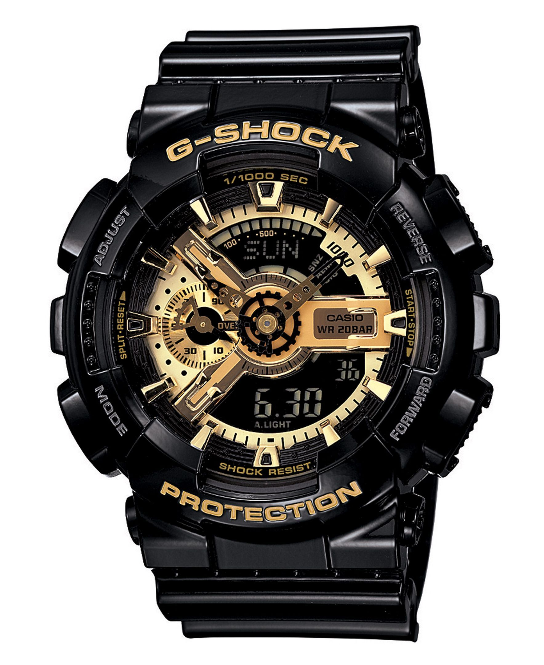 In-your-face style. There's no denying this bold watch by G-Shock. Black resin…
