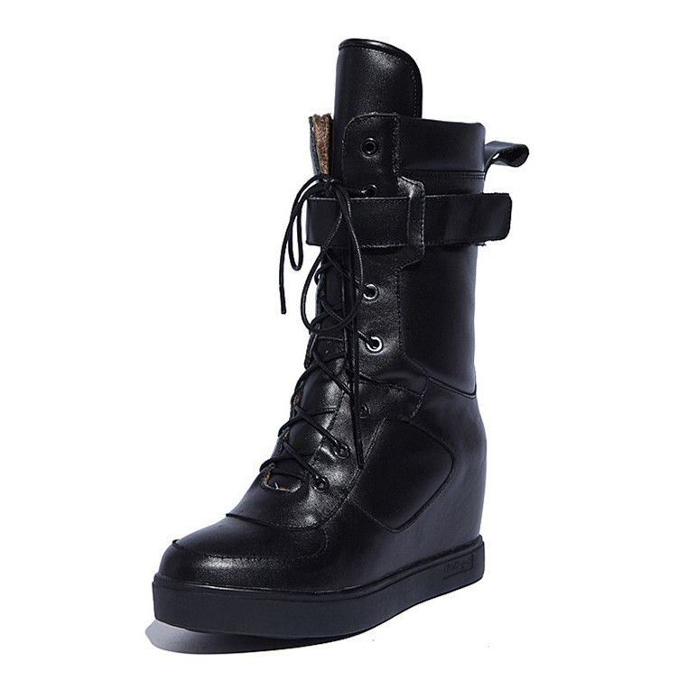 Winter Snow Boots Women Fashion Boots Shoes 2014 Lace Up Leather Wedge Boots Mid Calf Black/White Platform Martin Boots -in Boots from Shoes on Aliexpress.com | Alibaba Group