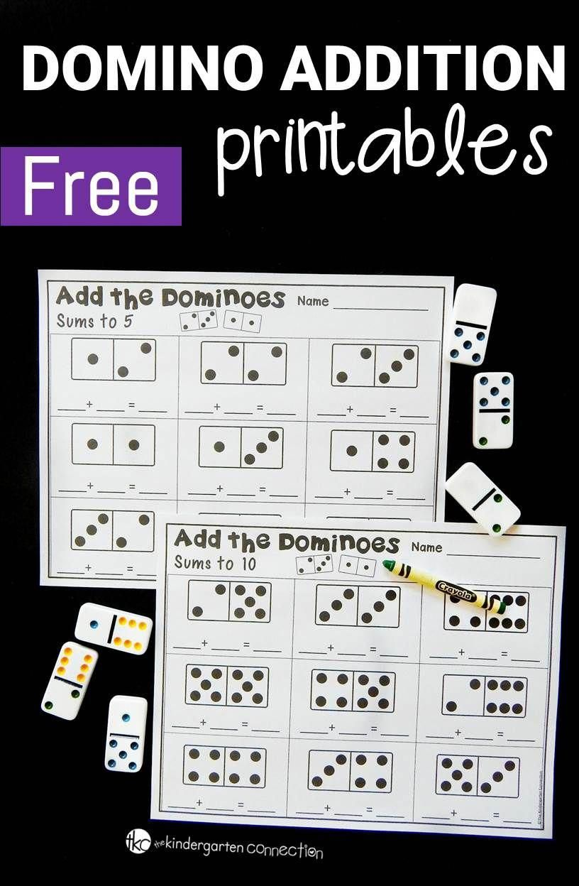 These Domino Addition Printables Are A Great Kindergarten Or First Grade Math Center For Math Centers Kindergarten Kinder Math Addition Worksheets First Grade
