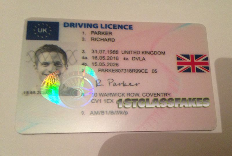 high quality fake uk driving licence with holograms and uv